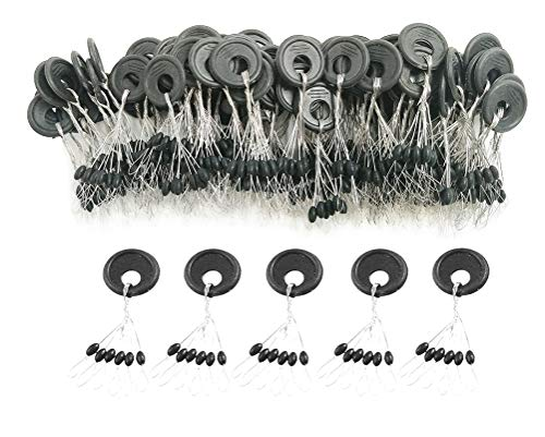 DRCFISHING 600 Pcs Fishing Rubber Bobber Beads Stopper, 6 in 1 Float Sinker Stops, Black Oval,Size L,M,S Available (S)