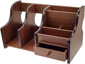 Coideal Wooden Office Supplies Desk Organizer with Drawer 6 Compartments Wood Desktop Storage Caddy Storage Holder Organizer for Mail, Pen Pencil (Brown & Black)