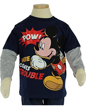 Disney Little Boys' Mickey Mouse Toddler Long Sleeve Navy Shirt