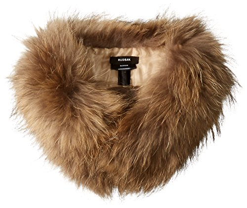 RUDSAK Women's Neverland Raccoon Fur Scarf with Clip Collar, Natural, One Size by RUDSAK