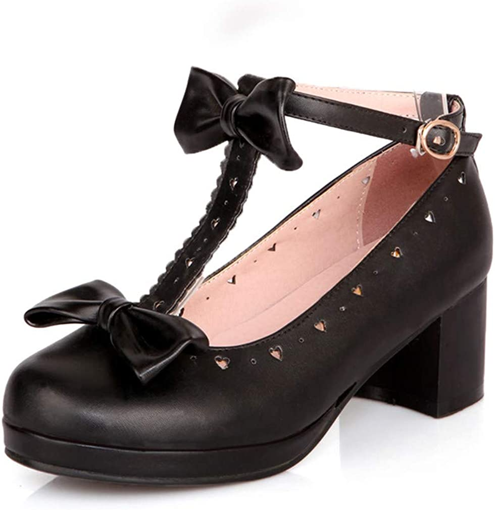 Details about  /Womens Gilrs Lolita Bowtie Falbala T Strap Studs Cos Mary Jane Court Shoes MOON