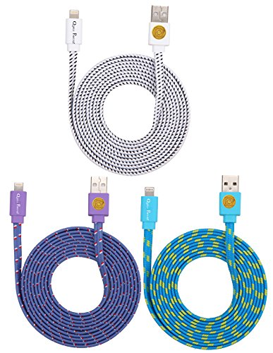 6ft Durable Hi-Speed Braided Flat Noodle Lightning USB SYNC Cable Charger Cord for iPhone 5 / 5C / 5S,iPhone 6/6 Plus (IOS 8 Supported) iPad Mini iPod Touch 5th Air Gen - 3PK (purple blue white)