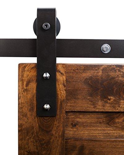 Rustica Hardware FSMINB70RS Industrial Barn Door Hardware, 7' Track System, Raw Steel Finish