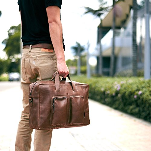 Capra Leather Shoulder Satchel for Men, Brown Crossbody Messenger Laptop Bag, Medium Travel Carry On, Handmade Computer Workbag Courier. Mens Gift