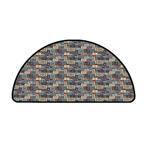 Moroccan Comfortable Semicircle Mat,Grid Style Square Pattern Ornamental Arabesque Oriental Tunisian for Living Room,31.4