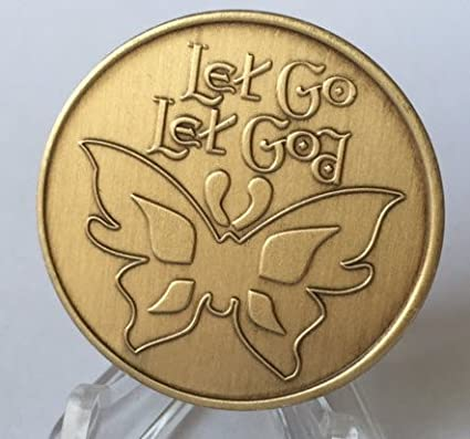 Let Go Let God Butterfly Serenity Prayer Bronze Recovery Medallion Coin AA NA