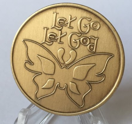 Let Go Let God Butterfly AA Alcoholics Anonymous Serenity Prayer Medallion Chip Bronze -