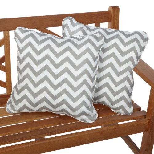 r/Outdoor 18-inch Corded Pillow, Grey Chevron, Set of 2 ()