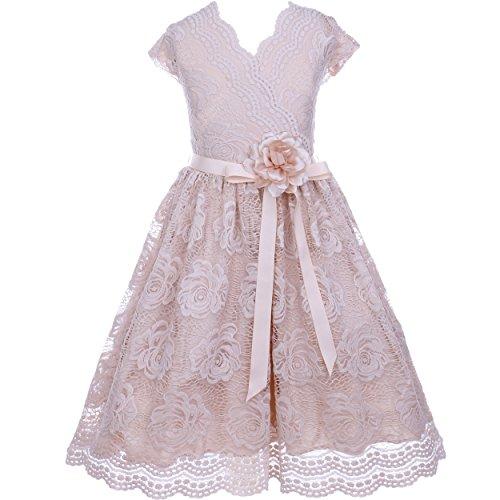 CrunchyCucumber Big Girls Cap Sleeve V Neck Floral Lace with Corsage Flower Belt Dress Champagne - Size 10