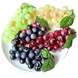 grapes decoration - Chengsan Green Yellow Purple Black Artificial High Simulation Grapes, False Fruit Fake Grapes, Kitchen, Office and Photography Props (CS-FZSG02) (4 Colors)