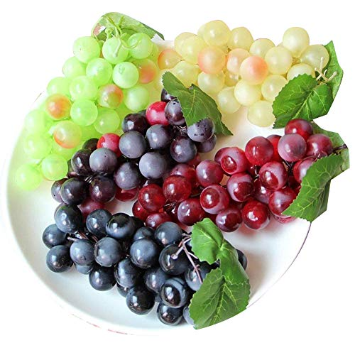 chengsan Green Yellow Purple Black Artificial High Simulation Grapes, False Fruit Fake Grapes, Kitchen, Office and Photography Props (CS-FZSG02) (4 Colors)