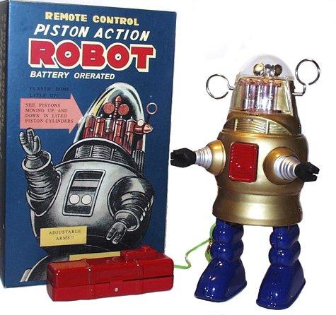 Piston Action Robot - Robby the Robot Tin Toy Gold