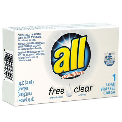 All Free Clear HE Liquid Laundry Detergent, Unscented, 1.6 oz Vend-Box, 100/Carton, 2/Pack by All