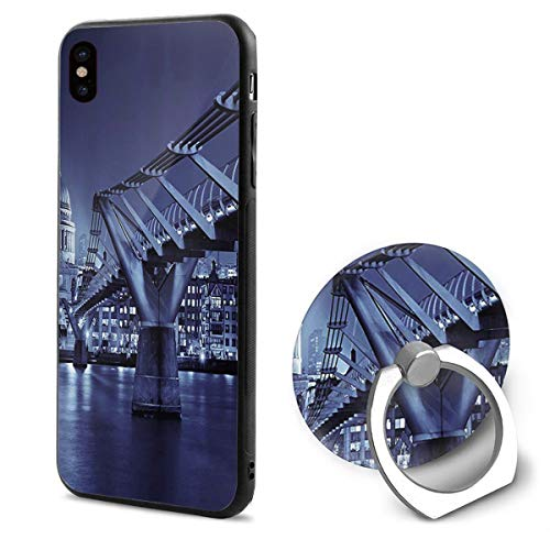 LeYue iPhone Xs/X Case, Urban City Night View Slim Fit Liquid Silicone Gel Rubber Shockproof Case Soft Cover +Finger Ring Holder Stand Grip Mount Kickstand for iPhone X/XS 5.8 Inch]()