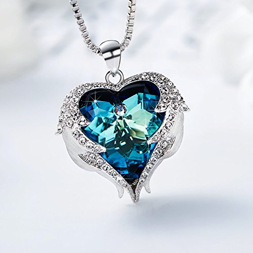 Ancreu heart ocean necklace love heart pendant necklaces for women ancreu heart ocean necklace love heart pendant necklaces for women made with swarovski crystals mozeypictures Gallery