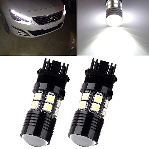 cciyu 2 Pack 3157 White 6000K Back Up Reverse Projector Cree+12 SMD Chip LED Lights Bulbs Replacement fit for Tail Brake Reverse Parking Light Fit 2014-2015 Chevrolet Express 2500