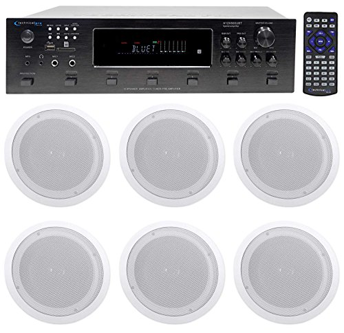 Technical Pro 6000 Watt 6) Zone, Home Theater Bluetooth Receiver+12) 8'' Speakers by Technical Pro