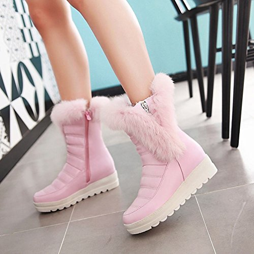 Ankle Thick Show Heel Platform Snow Pink Shine Mid Womens Boots High YCCxpPHq