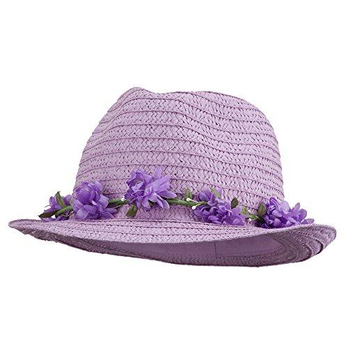 Women's Flower Lei Paper Fedora - Lavender OSFM