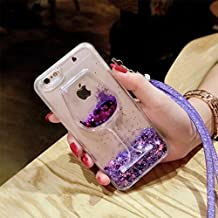 iphone 6/6S Liquid Case,Goblet Wine Glass Liquid Quicksand Flowing Floating Bling Glitter Sexy Lip Case with Wrist Strap for Apple iphone 6/6S (Heart Purple)