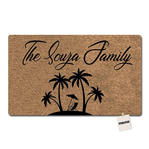 SGBASED Personalized Door Mat Custom Any Text/Name/Family Doormat Aloha Palm Tree Mat Entrance Floor Decorative Rug Doormat Non-Woven Fabric (30 X 18 inches)