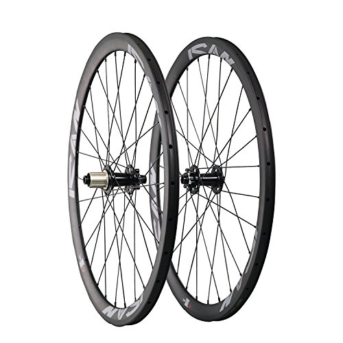 ICAN Road Bike Disc Brake Wheelset Carbon Clincher 38mm Depth 23mm Width 28 Holes Shimano 10/11 Speed Thru Axle 100x15mm/142x12mm (38 Mm Carbon)