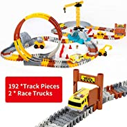 226pcs Construction Themed Race Tracks Set, Flexible Trains Tracks With 2 Race Trucks, Toy Cars Set for 3 4 5