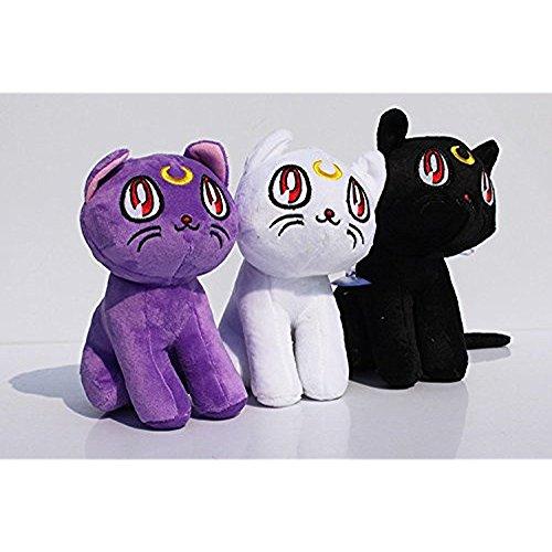 Sailor Moon Plush 7.2 Inch / 18cm Luna Artemis Diana Cat 3pcs Doll Stuffed Animals Figure Soft Anime Collection Toy