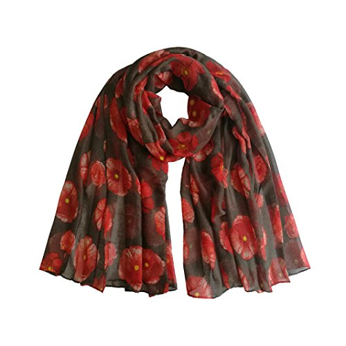 - Cywulin Women Fashion Voile Scarf , Autumn Winter Warm Ladies New Red Poppy Print Long Scarf Flower Beach Wrap Ladies Stole Shawl (H)