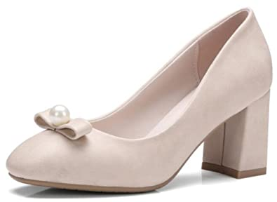 b19cd9f0f0a IDIFU Women s Elegant Bows Pearls Mid Chunky Heels Low Top Square Toe Slip  On Pumps Shoes
