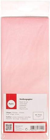 Papel de seda.,50 x 75 cm, bolso de 5 hojas.,Color rosa pálido.