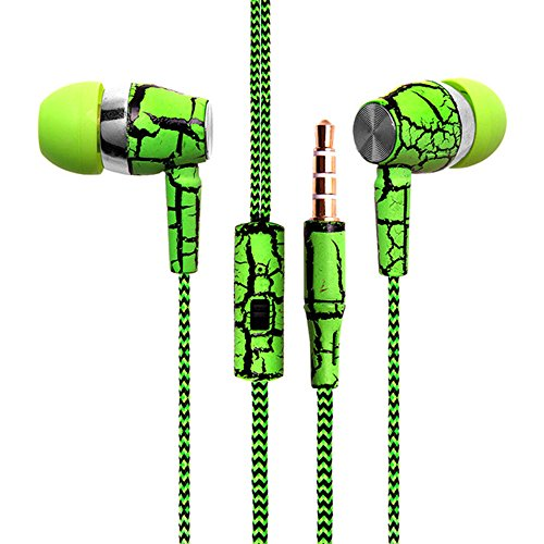 New Fashion Design Nylon Braided Crack Earphone Cloth Rope Earpieces Stereo Bass MP3 Music Headset with Microphone for Cellphone MP3 MP4 (Green)