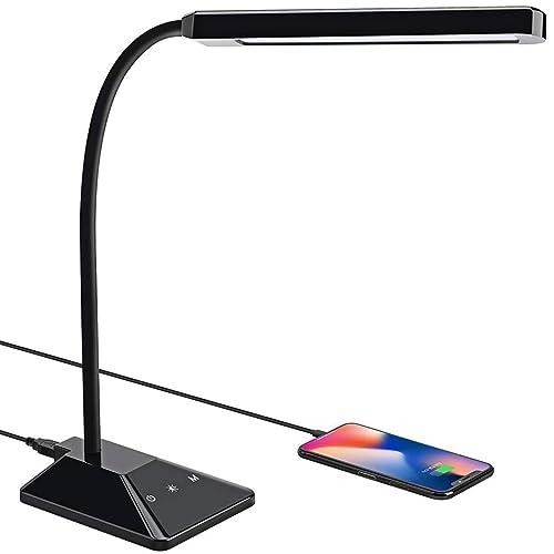 VicTsing Lampara Escritorio 48 LEDs con 25 Modos de Luz Flexo LED Escritorio con Puerto USB de Carga Rápida Cuello Flexible 360º Función de Memoria Cuidado de Ojos Control Táctil y Bajo Consumo