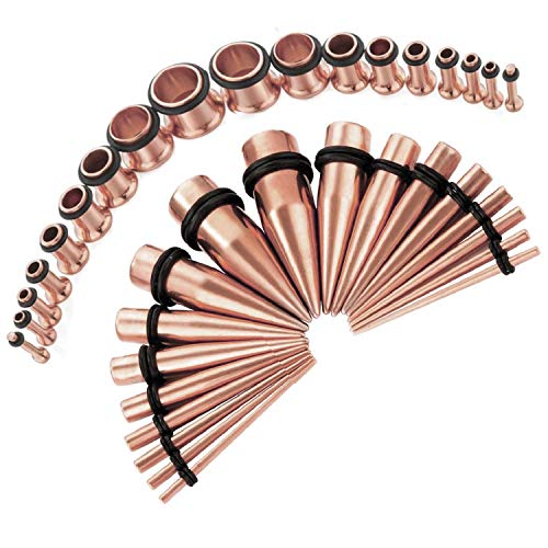 BodyJ4You 28PC Gauges Kit Ear Stretching 12G-0G Rose Goldtone Tunnel Plugs Tapers Piecing Set