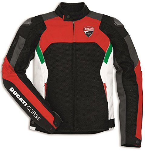 (Ducati Corse Summertime Textile Jacket By Dainese Black Red White Size 52 )