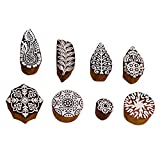 PARIJAT HANDICRAFT Wooden Printing Stamp Block Hand-Carved for Saree Border Making Pottery Crafts Textile Printing - Set of 8