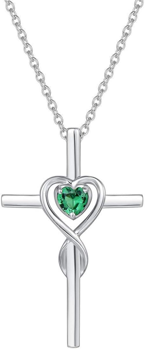 Collar con Colgante de Cruz Cristiana Infinito corazón para Mujer de Plata de Ley 925 y Piedras Preciosas Sintéticas/Naturales - Longitud Cadena: 40 + 5 cm