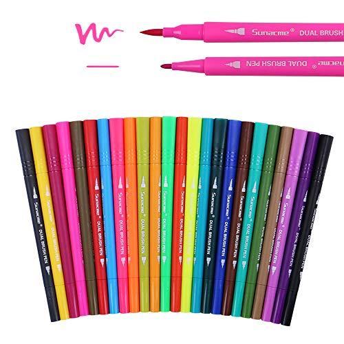 24 Pack Dual Brush Pen Art Markers - Colored Fine Tip Markers for Coloring Books, Drawing, Bullet Journal - Brush Pens for Sketching, Planner, Lettering (Brush Ang Bright)
