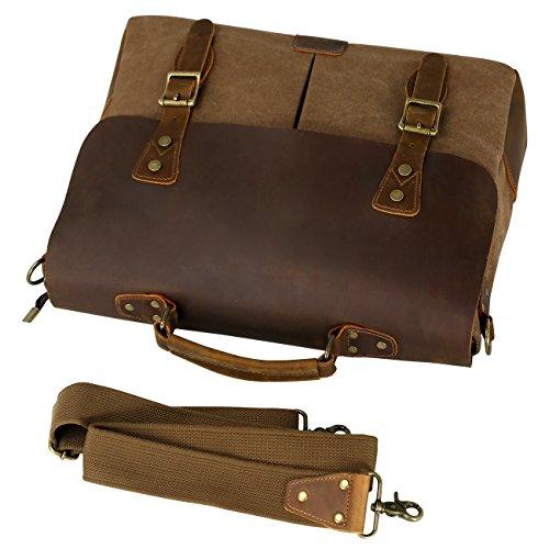 50deca8e86 WOWBOX Messenger Bag for Men 15.6 inch Vintage Leather and Canvas Men s  Satchel Shoulder Bag Business