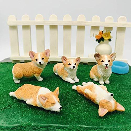 XinTX 5-Pack Hand-Made and Painted Corgi Sculpture Figurine Toy, Pet Dog Ornament Memorial Decoration, Corgi Collectibles, Pembroke Welsh Corgi Art (Corgi 5-Pack) ()