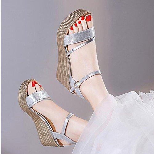 Heel de Comfort Zapatos Toe Plata carrera mujer MEIDUO oficina Peep y Chanclas sandalias para cómodo La Wedge Summer Sandals wpzYF