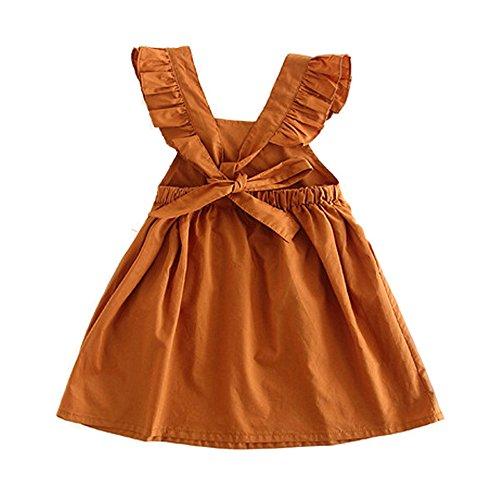 Brown Girls Dress (Toddler Girl Summer Dress Ruffle Sleeveless Backless Cotton Dresses for Baby Girls)