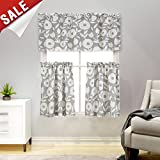 Tier Curtains Floral Printed Kitchen Curtains Linen Textured Half Window Curtains Rustic Printed Cafe Curtains(24 Inches Long, Grey and White)