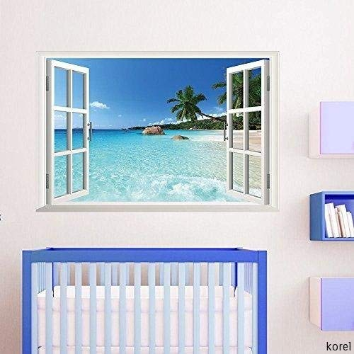 KOREL Large Removable Beach Sea 3D Window Decal WALL STICKER Home Decor Exotic Beach View Art Wallpaper Mural