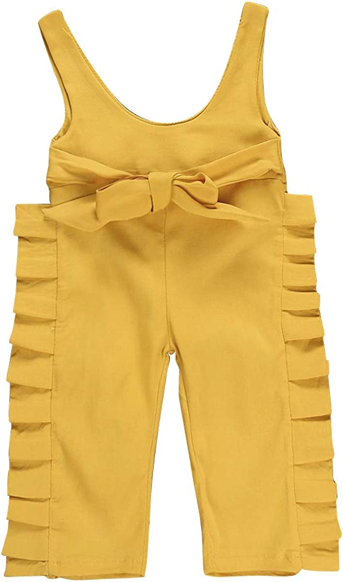 Toddler Baby Boy Girls Solid Overalls Romper Jumpsuit Suspender Bib Pants One-Piece Outift Clothes