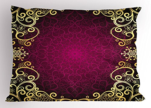 Ambesonne Mandala Pillow Sham, Vintage Frame with Curls Snowflake Motifs Fantastic Abstract Retro, Decorative Standard Size Printed Pillowcase, 26 X 20 Inches, Fuchsia Pale Yellow ()