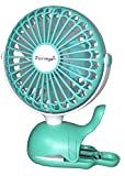 Clip On Baby Stroller Fan With Rechargeable Battery Perfect for Infant Crib - Golf Cart - Car Seat - Office Desk - Camping - or Workout in A Playful Whale Design