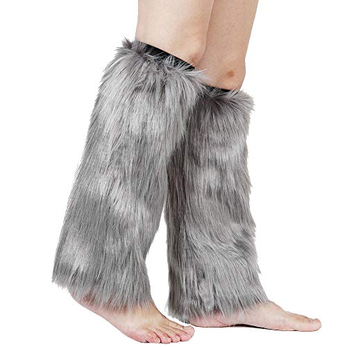 Barelove Womens Costume Sexy Faux Fur Warm Fuzzy Leg Warmers/Boot Sleeves/Boot Covers (Grey) ()