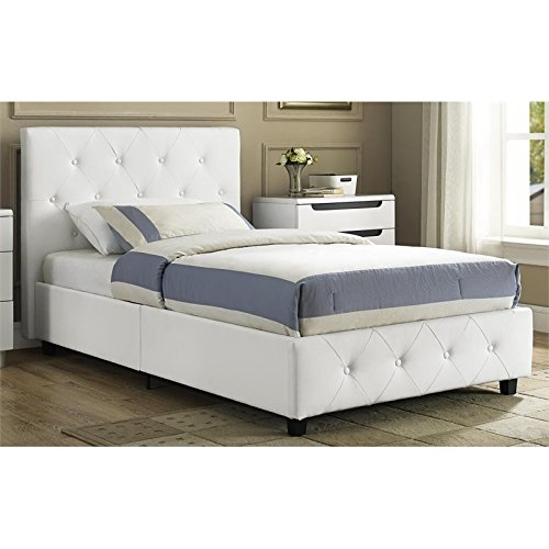 DHP Dakota Platform Bed with Tufted Upholstery in Faux Leather, Stylish Headboard, Includes Side Rails, Twin Size, White - Furniture Board