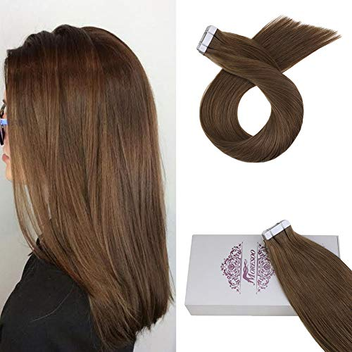 Moresoo 14 Inch Skin Weft Tape in Human Extensions Color Gold Brown #10 Hair Extensions Tape in Real...